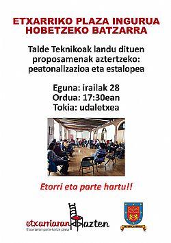 ETXARRIKO PLAZA INGURUA  HOBETZEKO BATZARRA