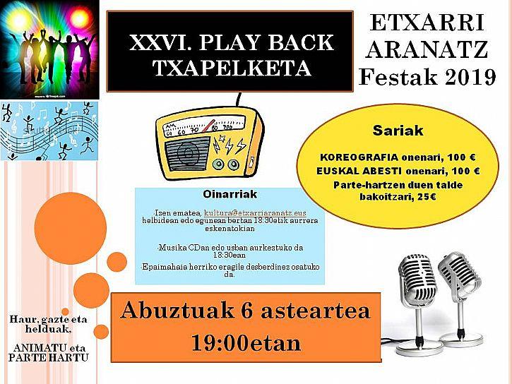 2019ko FESTETAKO PLAY BACK TXAPELKETA