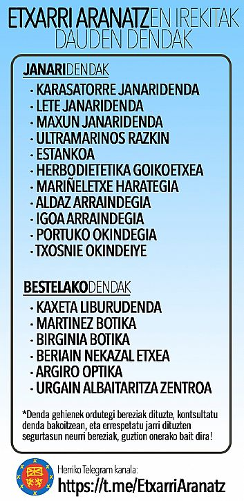 COMERCIOS ABIERTOS EN ETXARRI ARANATZ
